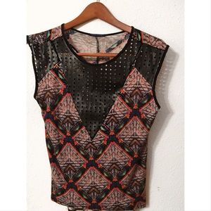 Sweet Claire eyelet tribal graphic top